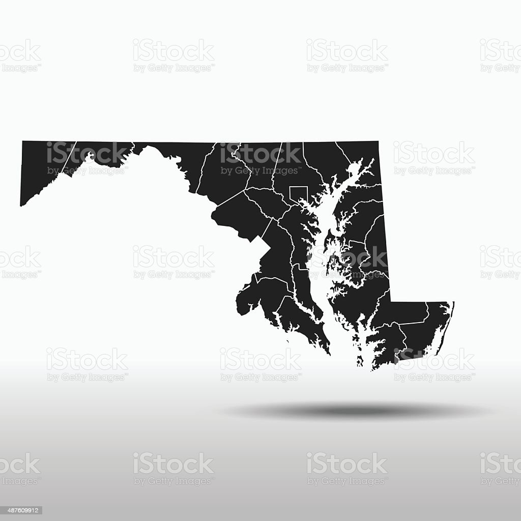 Maryland Map vector art illustration