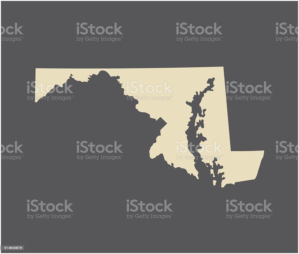 Maryland map vector outline vector art illustration