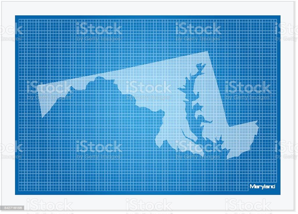 Maryland on blueprint vector art illustration