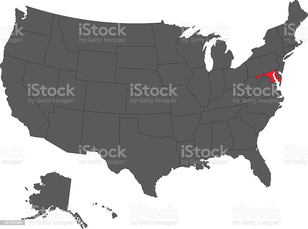 Maryland red map on gray USA map vector vector art illustration