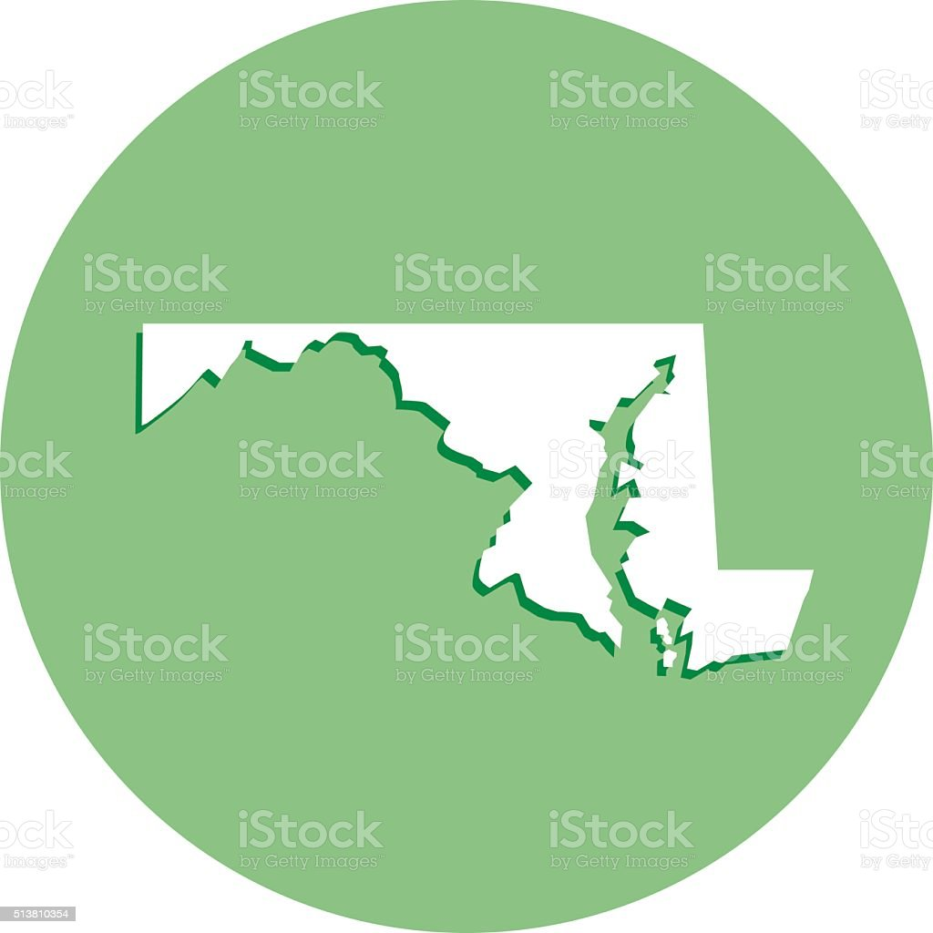 Maryland Round Map Icon vector art illustration