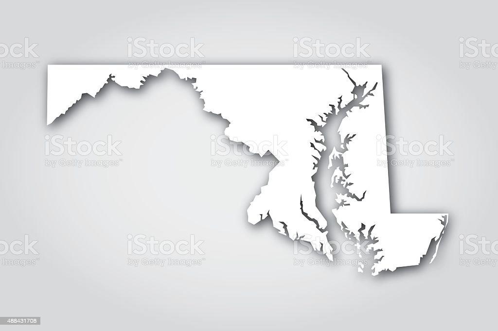 Maryland Silhouette White vector art illustration