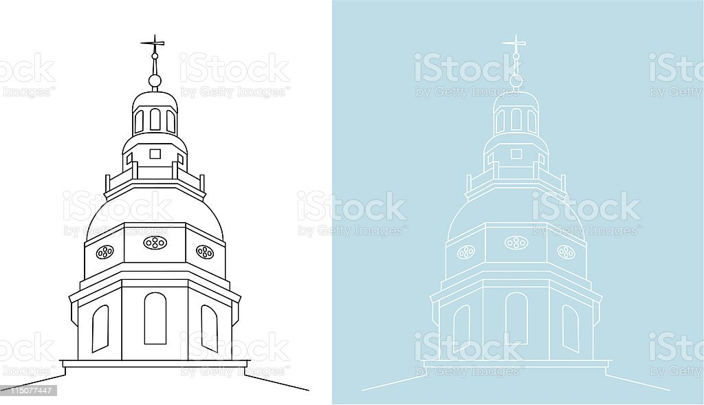 Maryland State House tower top royalty-free stock vector art
