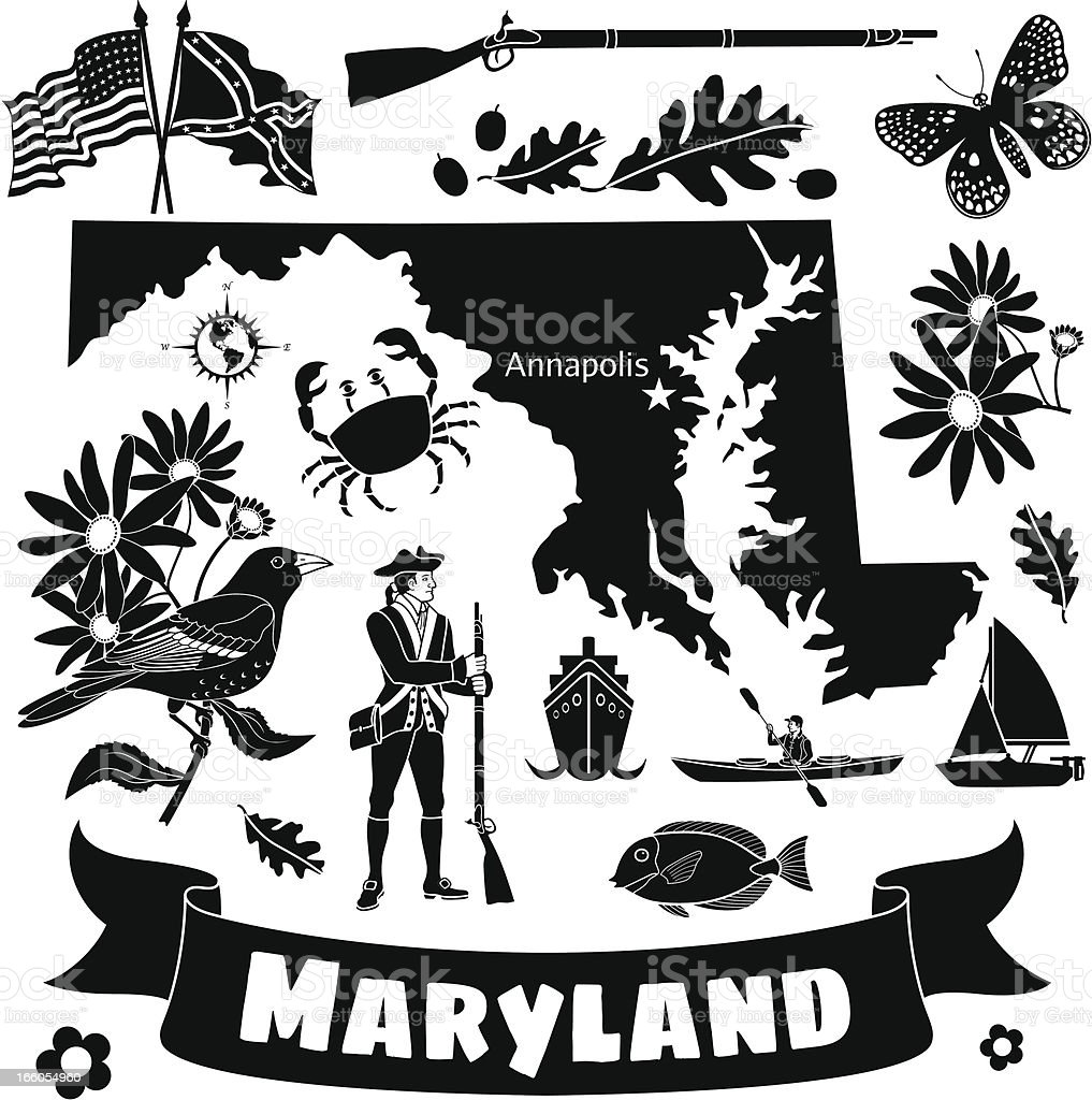 Maryland state map and icons royalty-free stock vector art