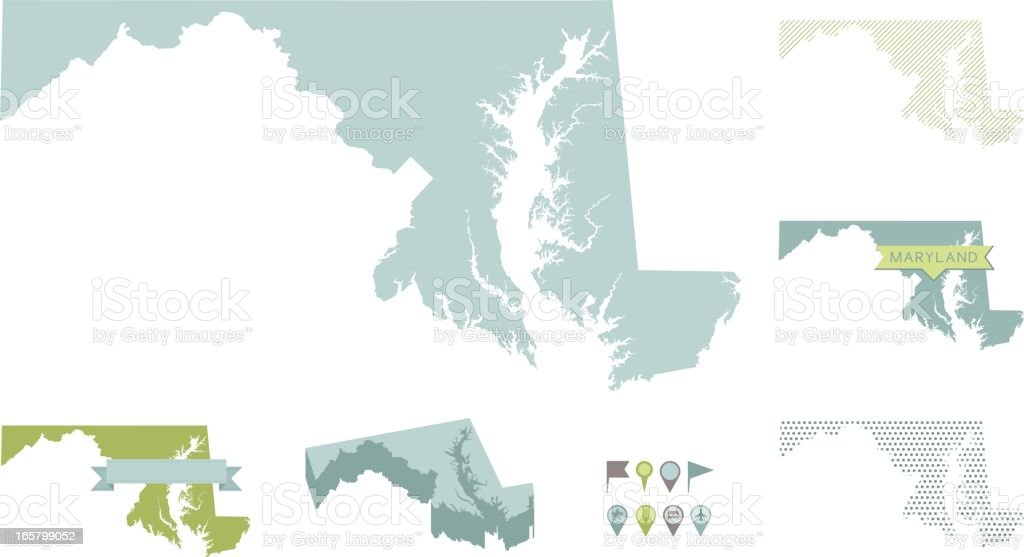 Maryland State Maps vector art illustration