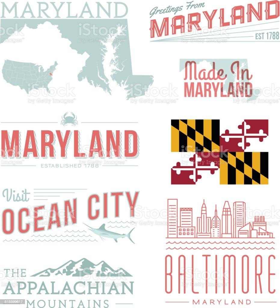 Maryland Typography vector art illustration