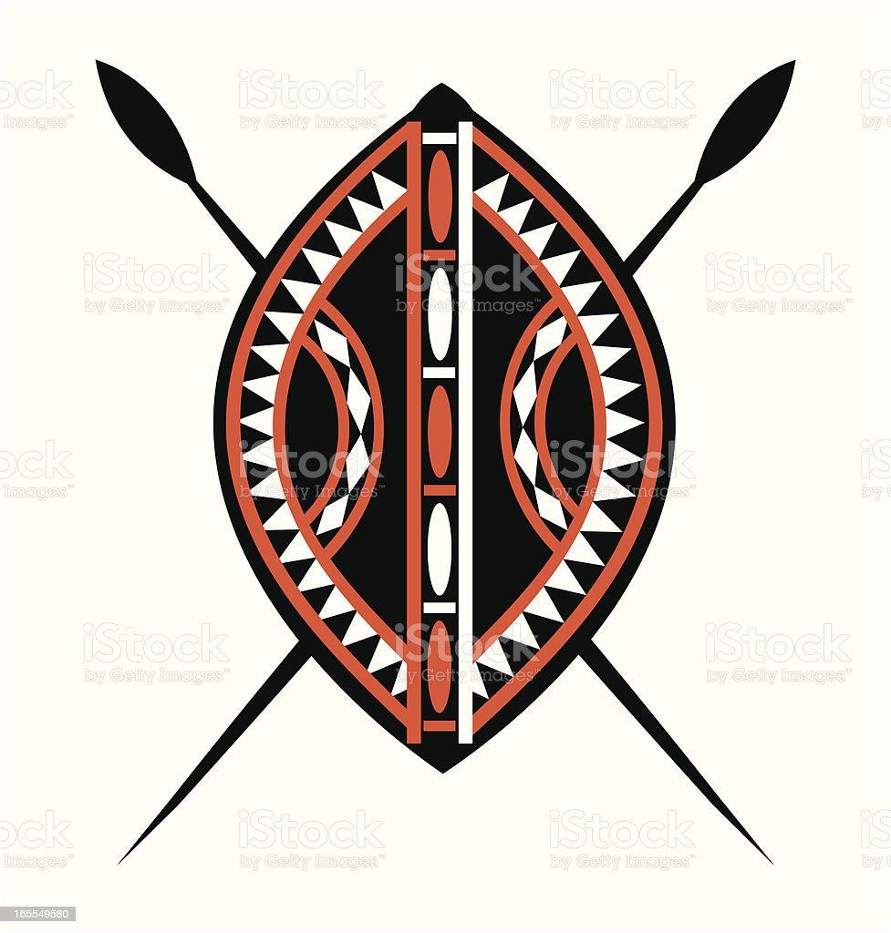 Masai Shield & Spears vector art illustration
