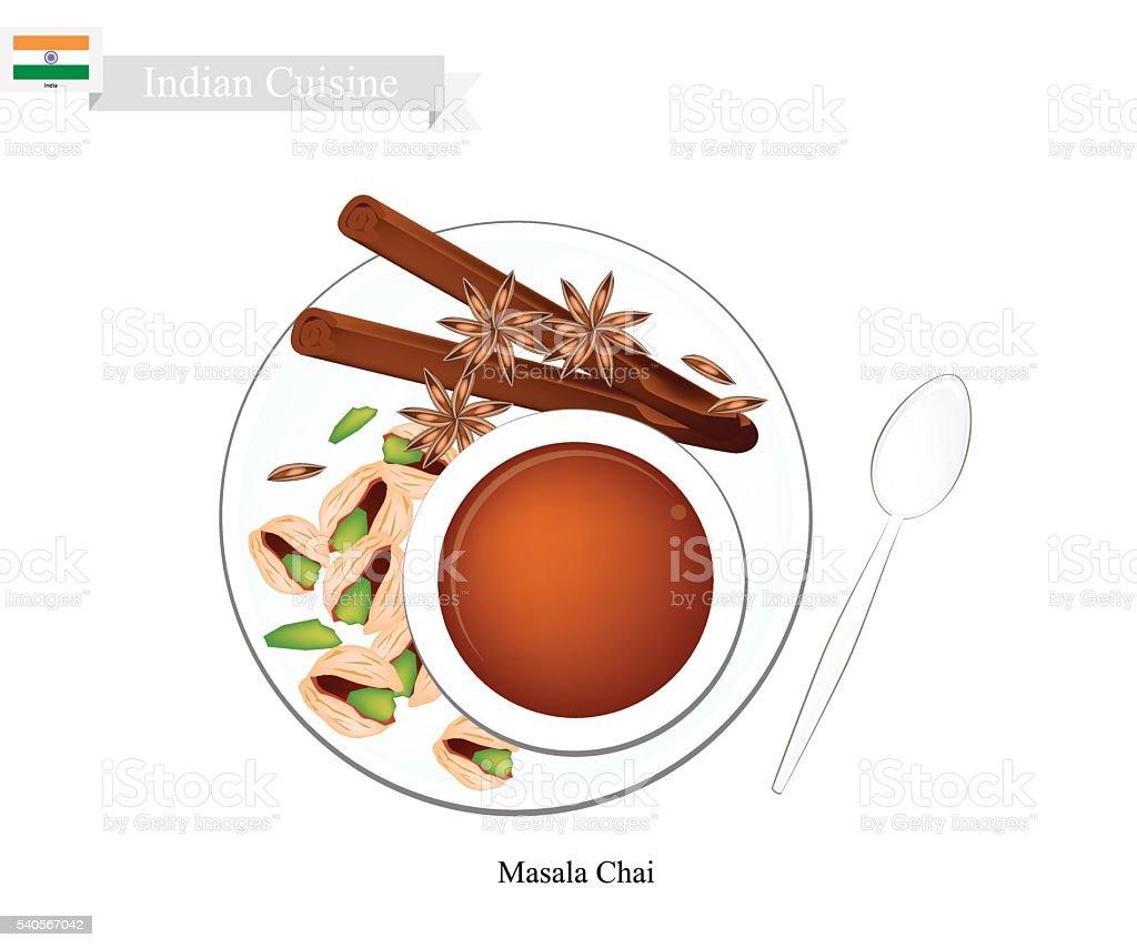 Masala Chai, Traditional Indian Black Hot Tea vector art illustration