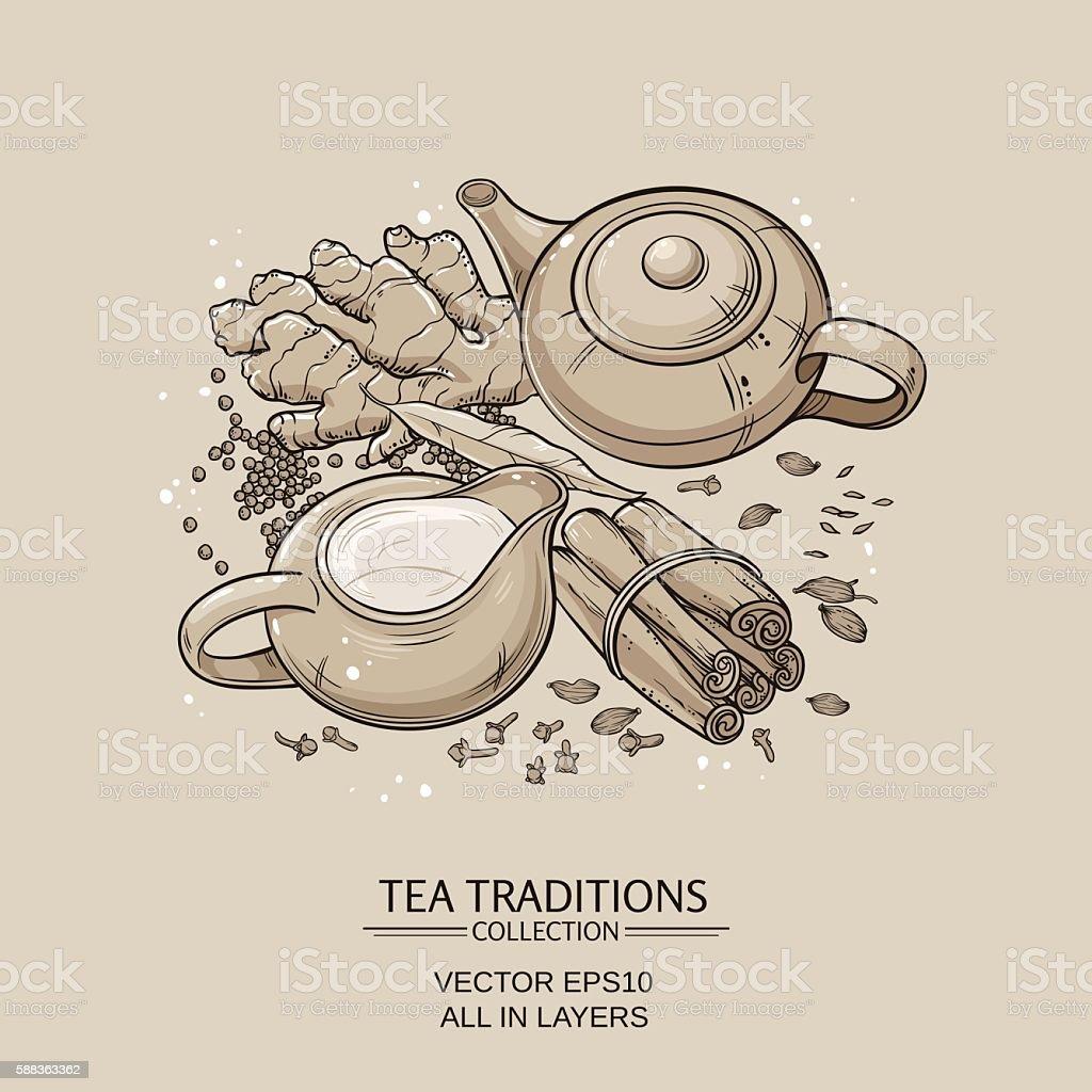 masala tea vector art illustration