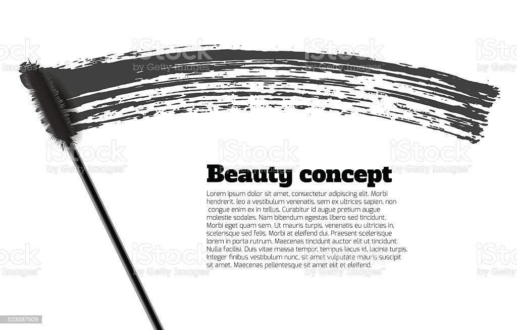Mascara brush stroke vector, beauty background vector art illustration