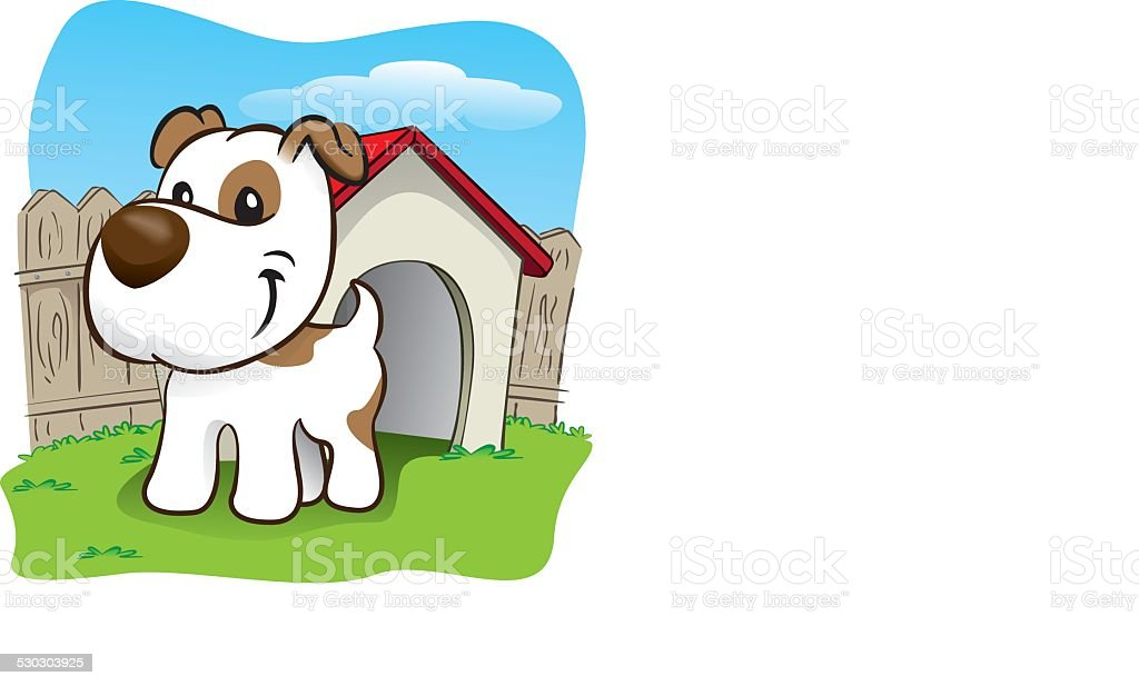 Mascot dog in the backyard with his little house vector art illustration
