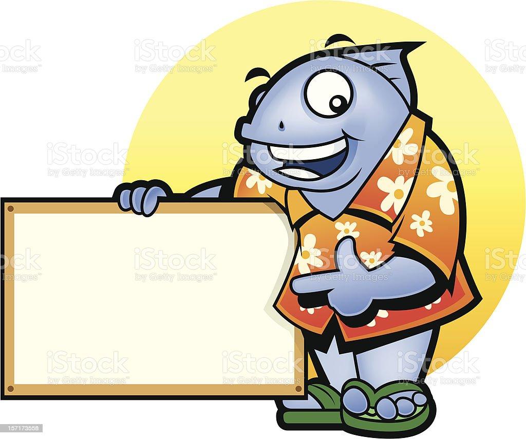 Mascot Fish presentation royalty-free stock vector art