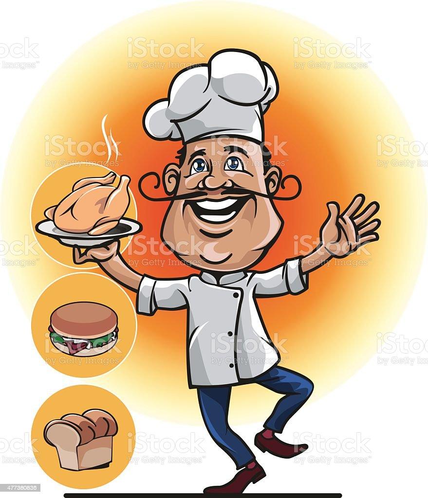 Mascot for the restaurant or bakery business vector art illustration