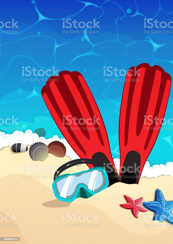 Mask and flippers on the beach vector art illustration