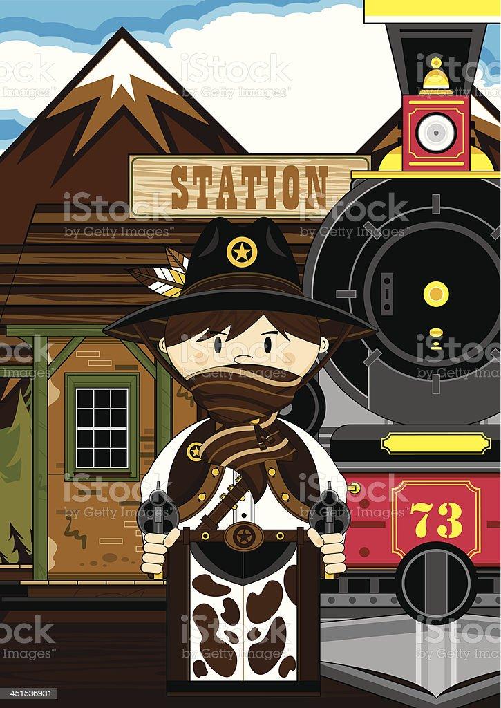 Masked Cowboy at Train Station royalty-free stock vector art