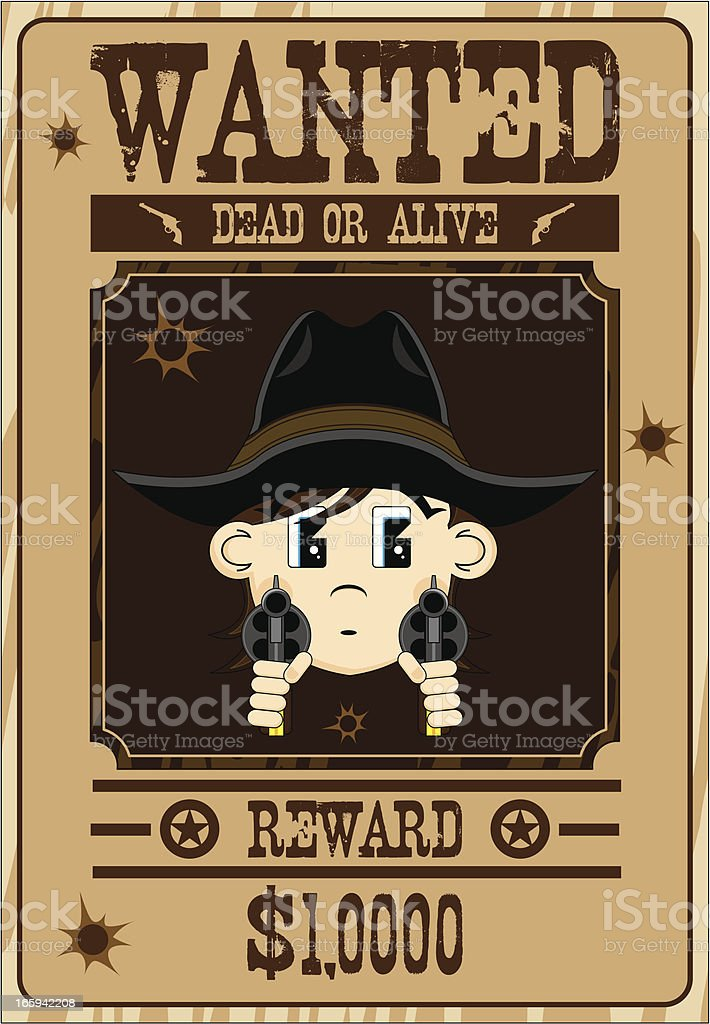 Masked Cowboy Outlaw Wanted Poster royalty-free stock vector art