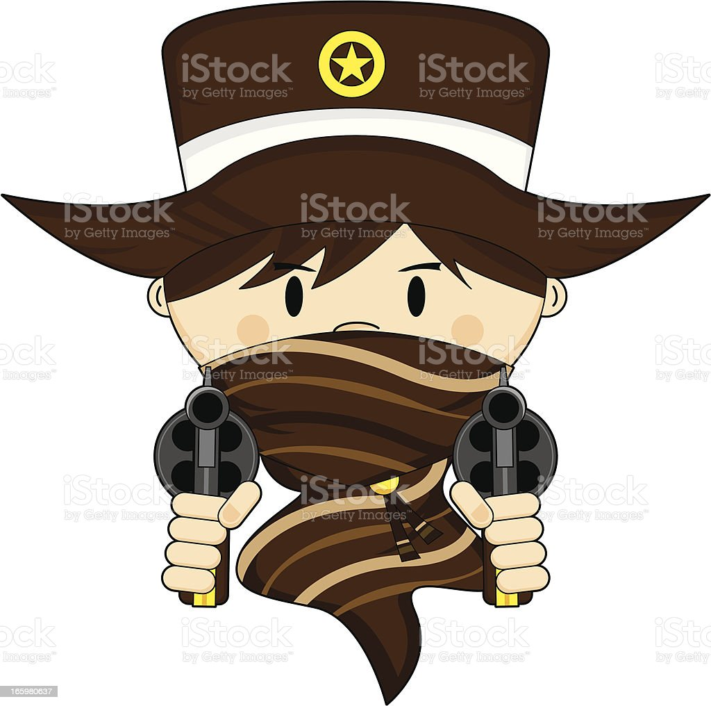 Masked Cowboy Sheriff with Guns royalty-free stock vector art