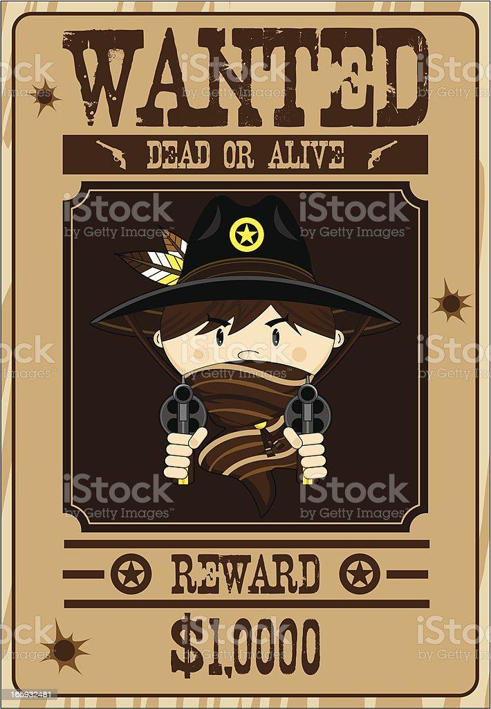 Masked Cowboy Wanted Poster royalty-free stock vector art