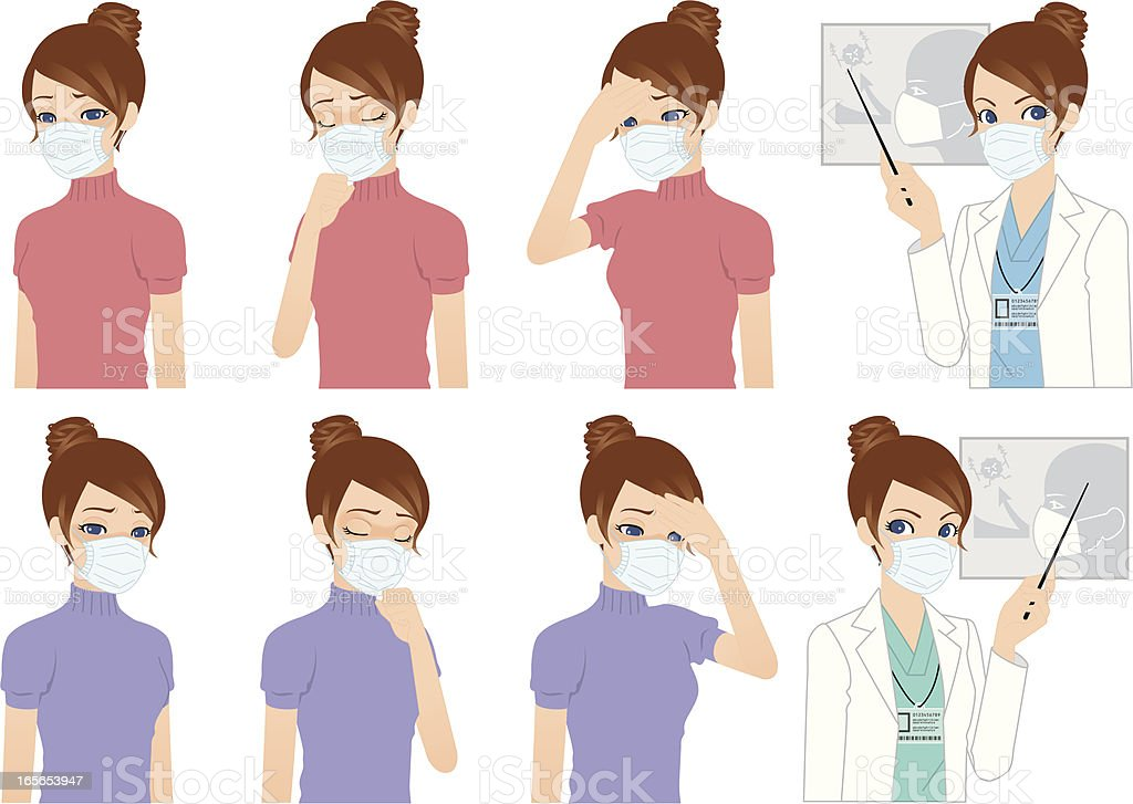 Masked patient and doctor vector art illustration