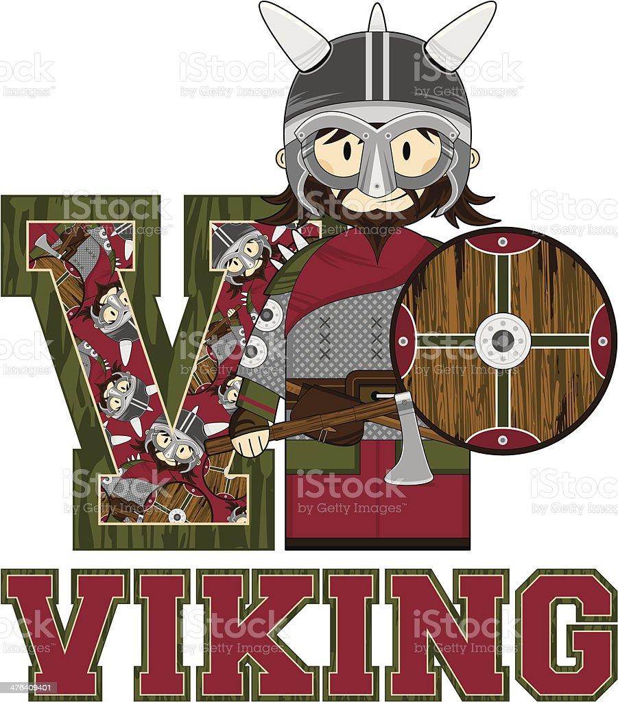 Masked Viking Warrior Learning Letter V royalty-free stock vector art