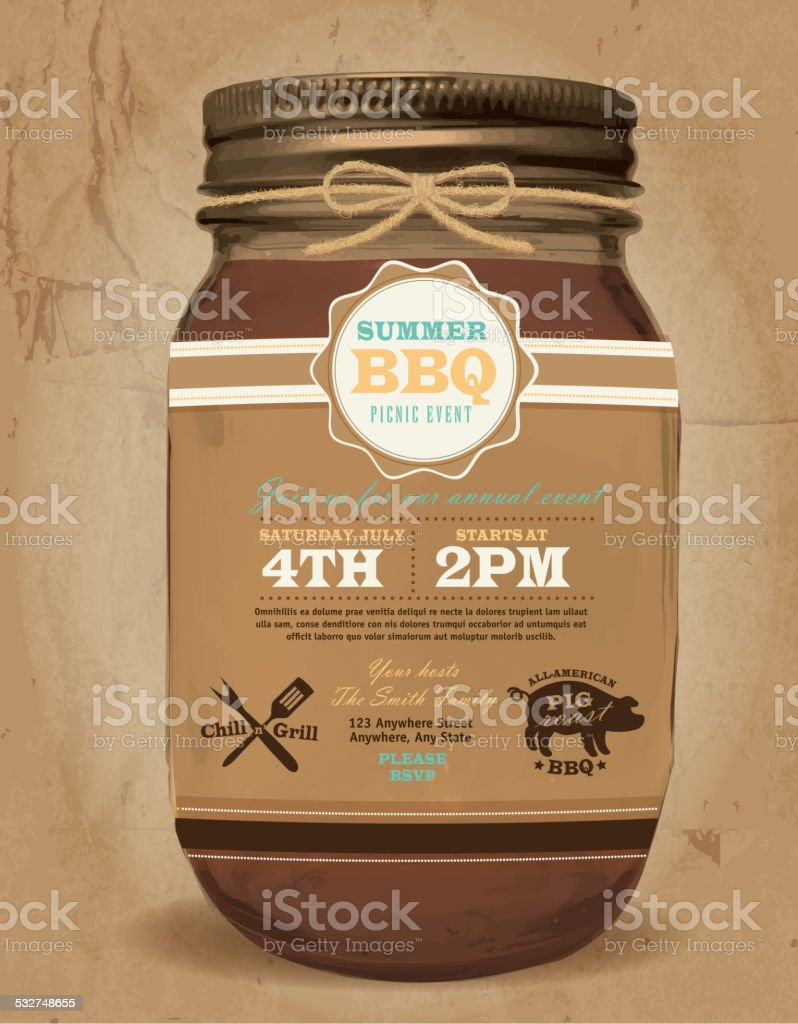 Mason Jar BBQ picnic invitation design paper bag background vector art illustration