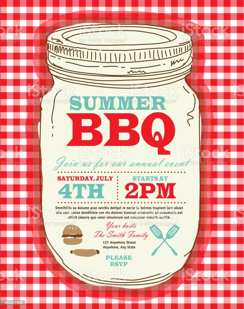 Mason Jar BBQ with checkered tablecloth picnic invitation design template vector art illustration