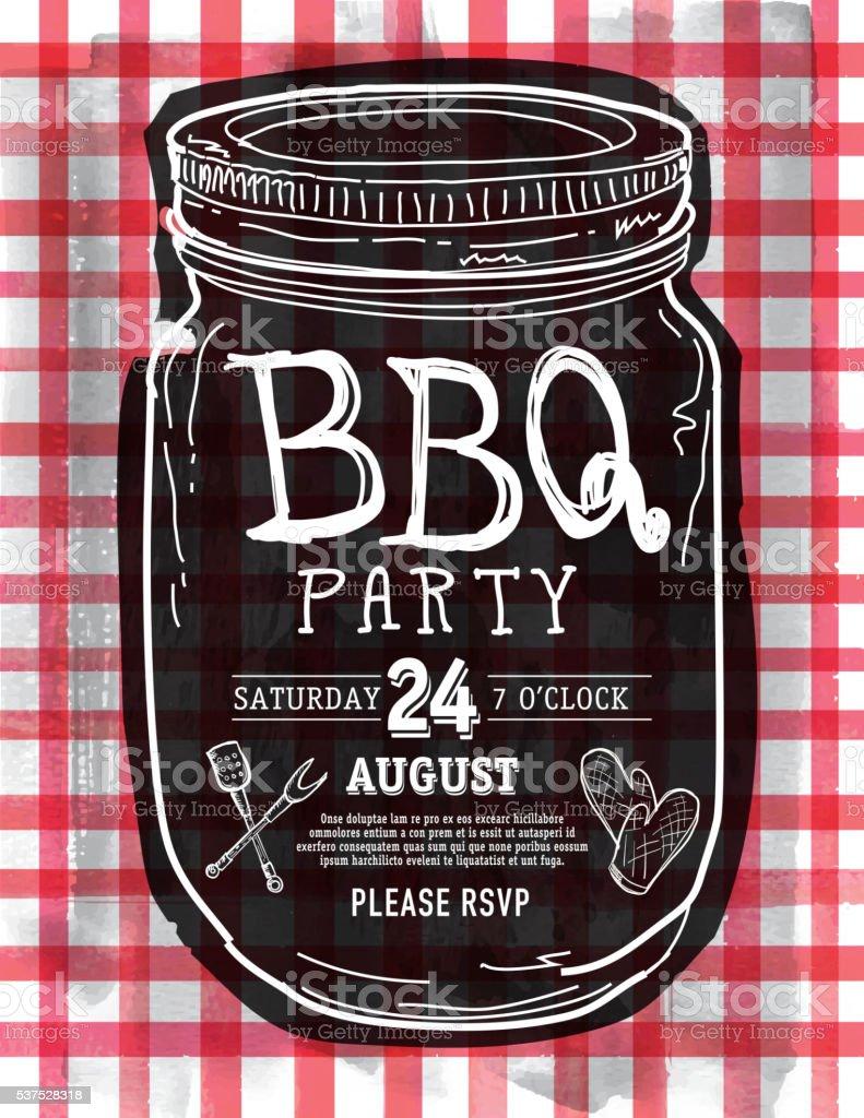 Mason Jar BBQ with red checkered tablecloth picnic invitation design vector art illustration