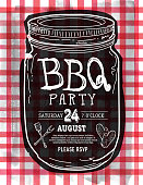 Mason Jar BBQ with red checkered tablecloth picnic invitation design