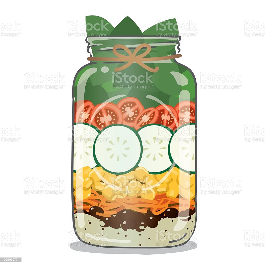 Mason Jar Salad with healthy vegetables and dressing vector art illustration
