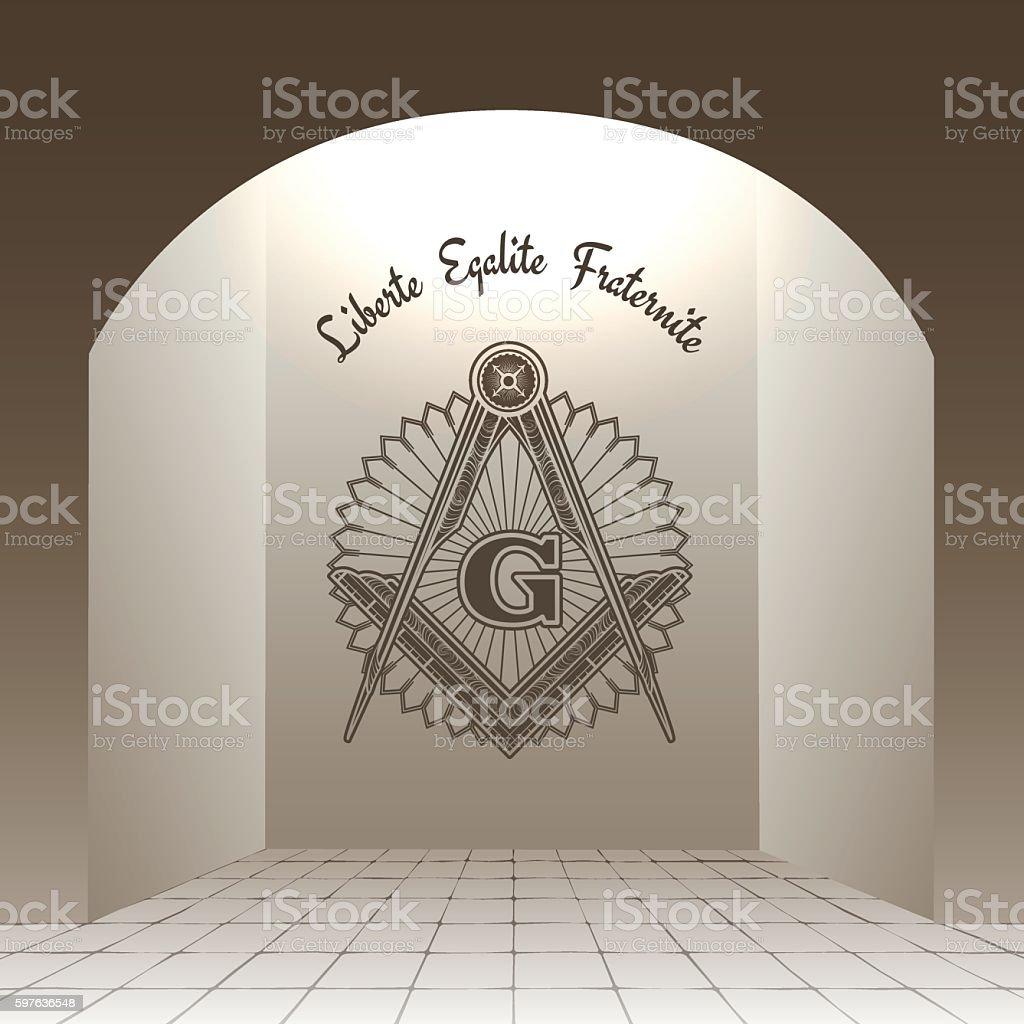 Masonic sign in arch vector art illustration