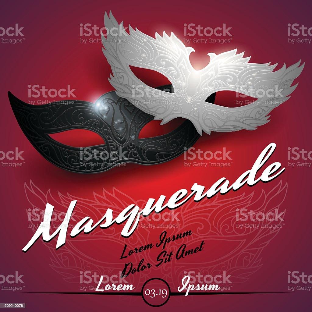 Masquerade ball party invitation poster vector art illustration
