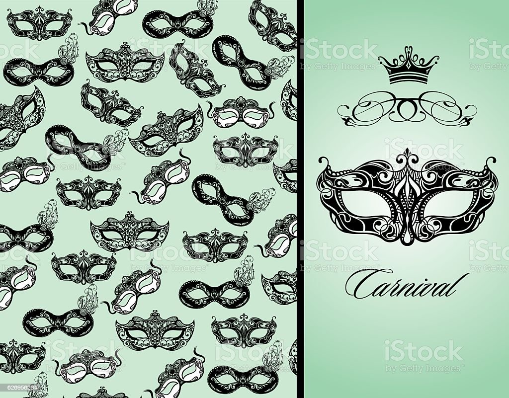Masquerade cardv with mask vector art illustration