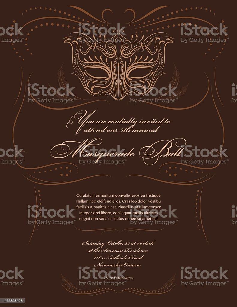 Masquerade Mask Design Party Invitation vector art illustration