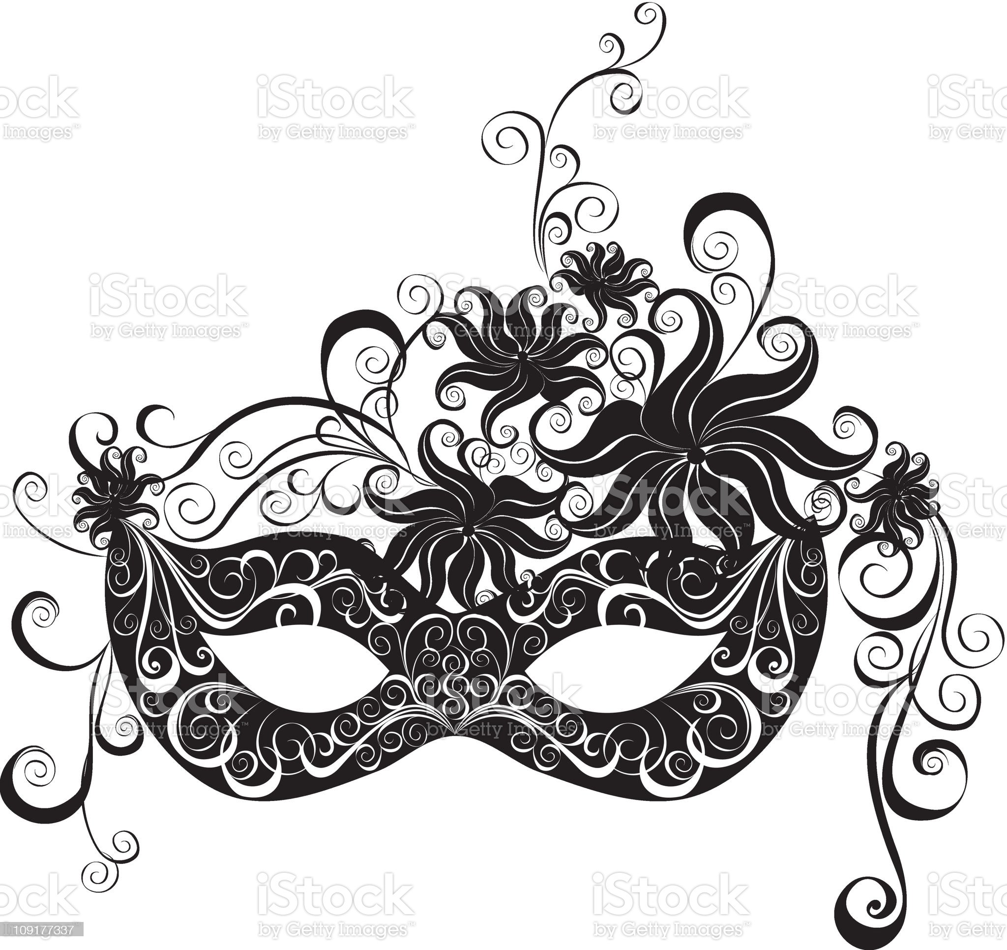 A masquerade mask in black and white royalty-free stock vector art