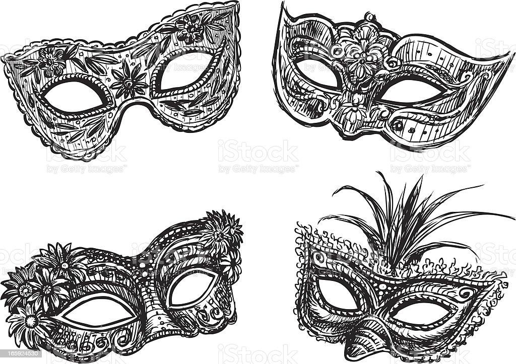 masquerade masks vector art illustration