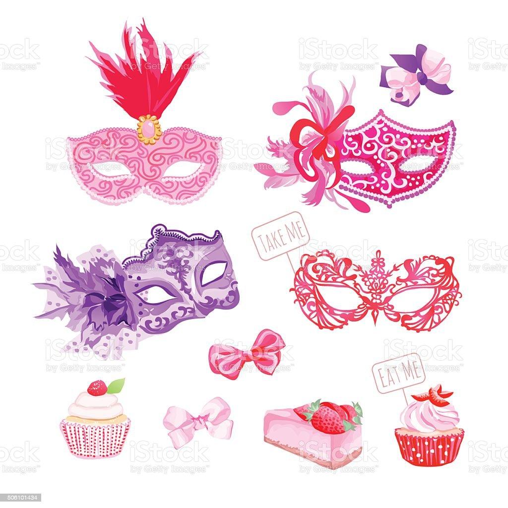 Masquerade masks,bows, fresh pastries vector design objects set vector art illustration