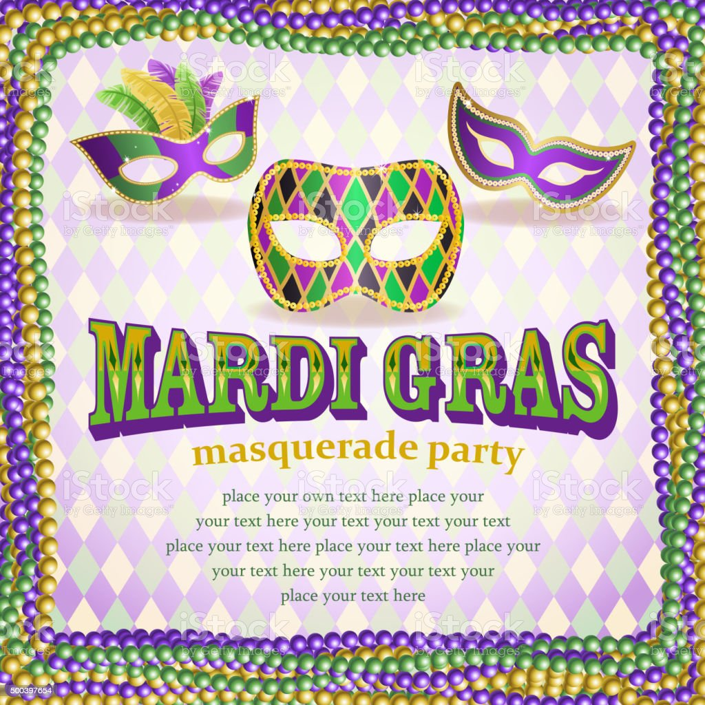 Masquerade party notice vector art illustration