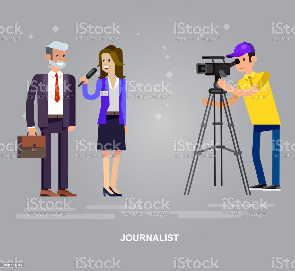 Mass media design concept set with journalists preparing news materials vector art illustration