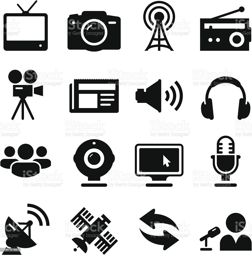 Mass Media Icons - Black Series vector art illustration