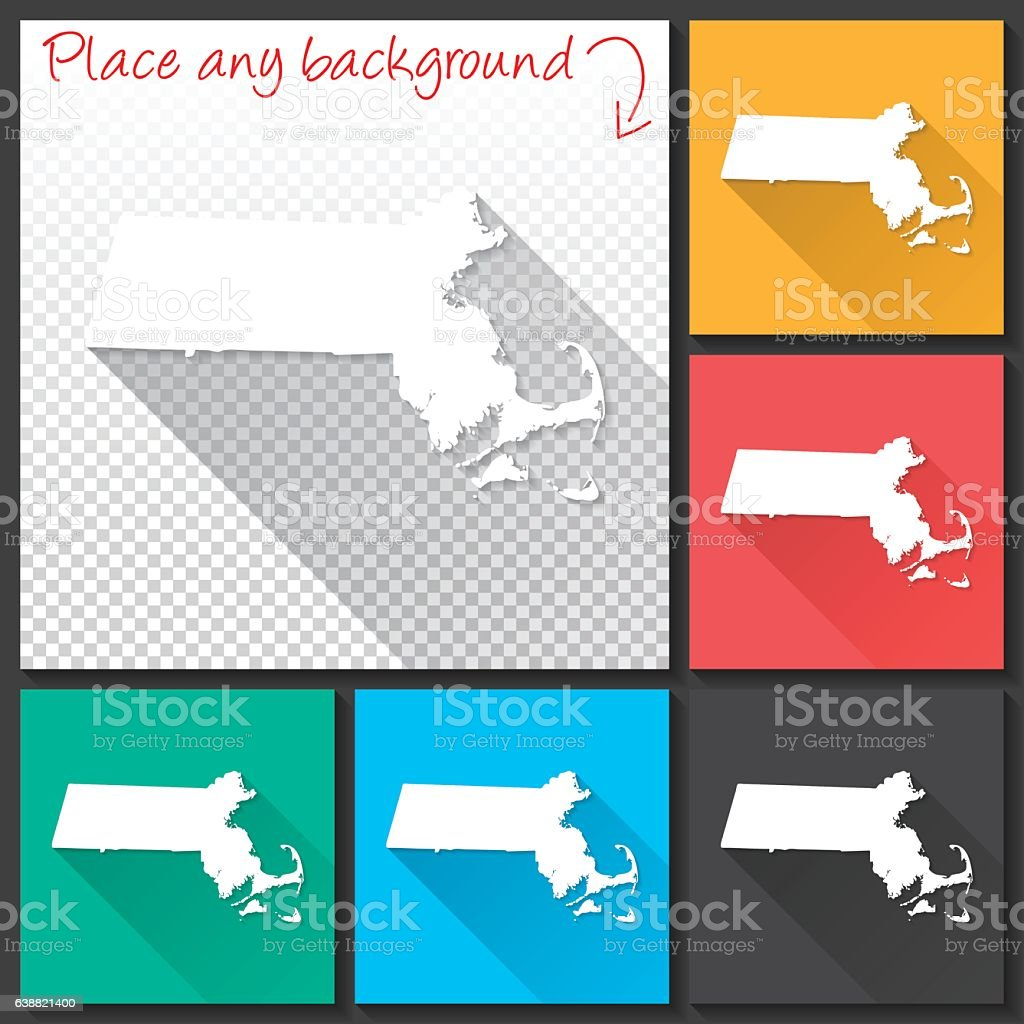 Massachusetts Map for design, Long Shadow, Flat Design vector art illustration