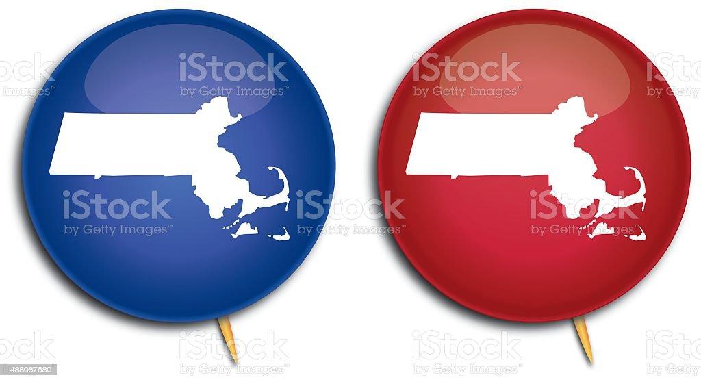 Massachusetts Map Pins vector art illustration
