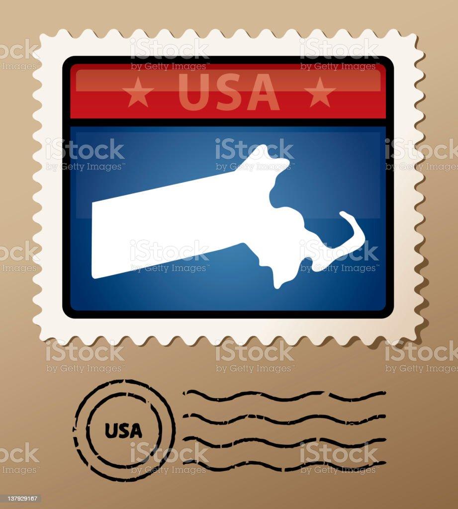 USA Massachusetts postage stamp royalty-free stock vector art