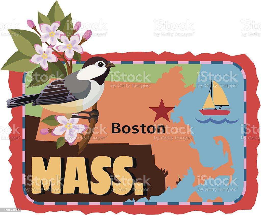 Massachusetts travels sticker or luggage label vector art illustration
