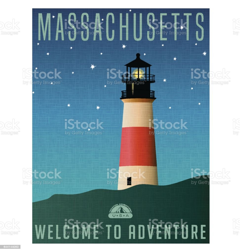 Massachusetts, United States travel poster or luggage sticker. Scenic illustration of a lighthouse on Nantucket Island at night with starry sky. vector art illustration