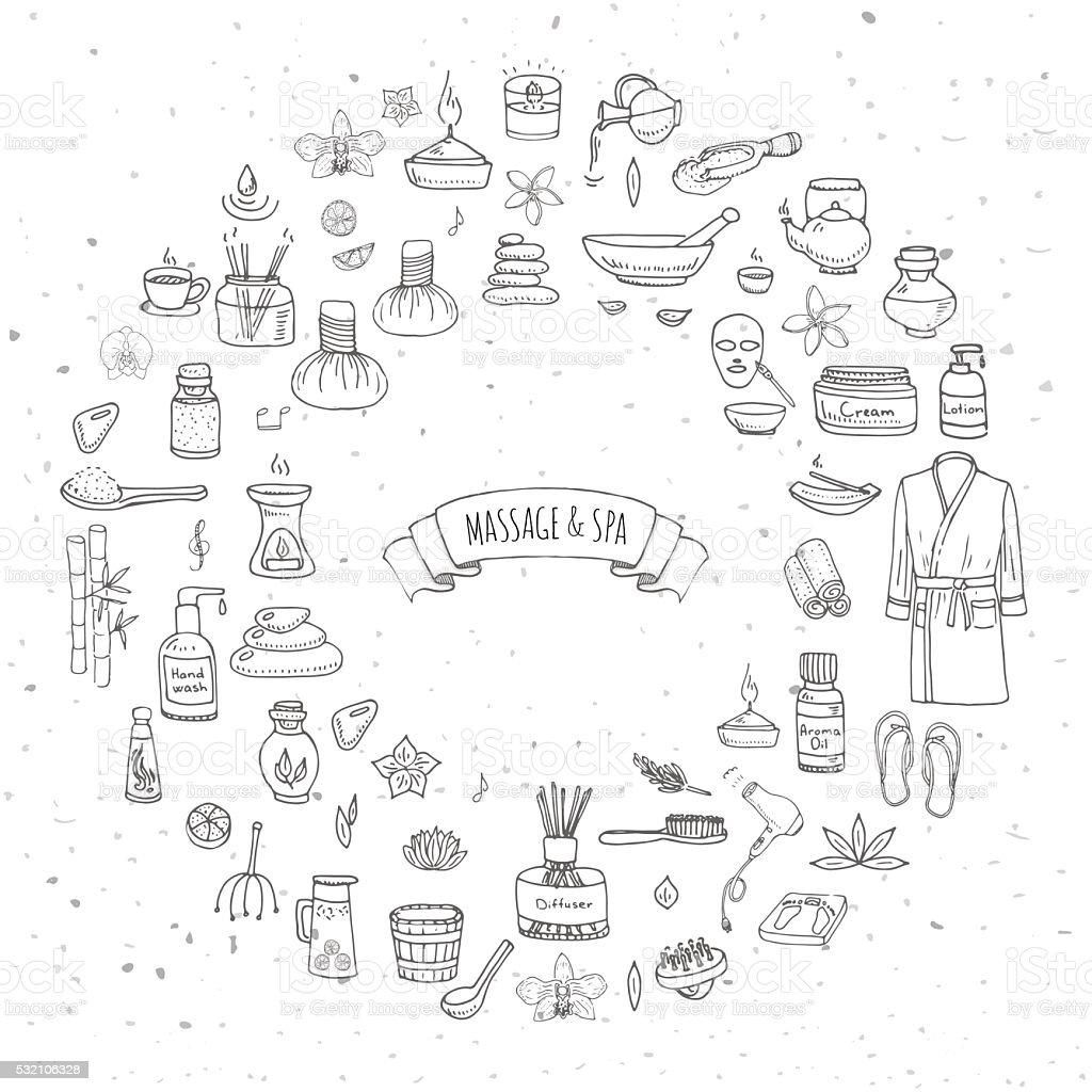 Massage and Spa icons set vector art illustration