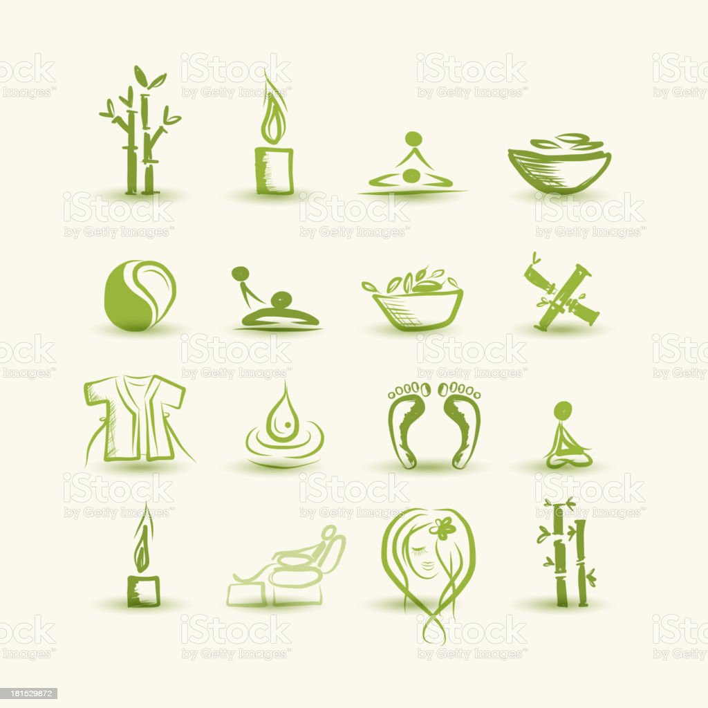 Massage and spa, set of icons for your design royalty-free stock vector art
