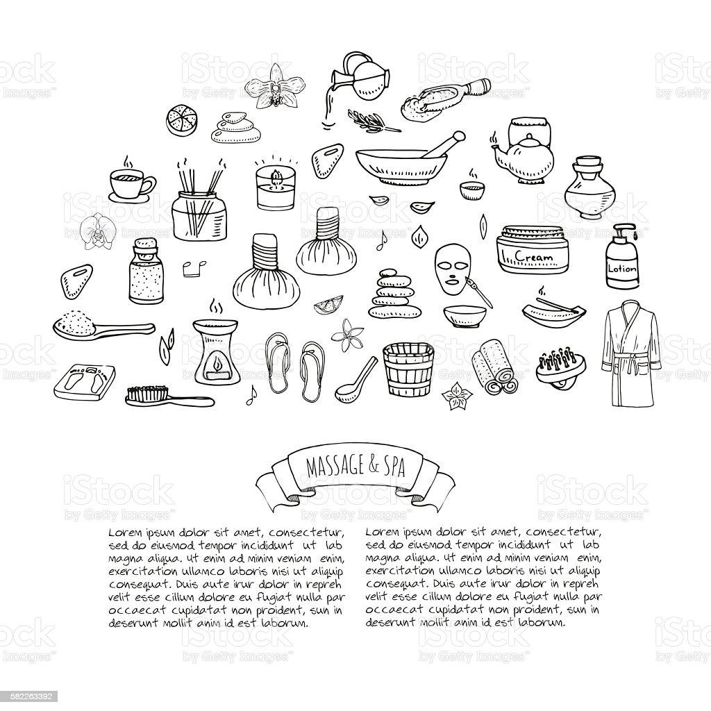 Massage and Spa set vector art illustration