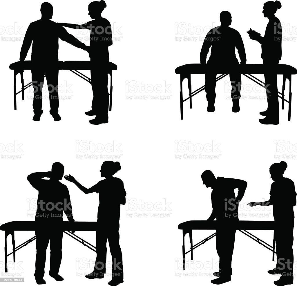 Massage therapy silhouette illustration vector art illustration
