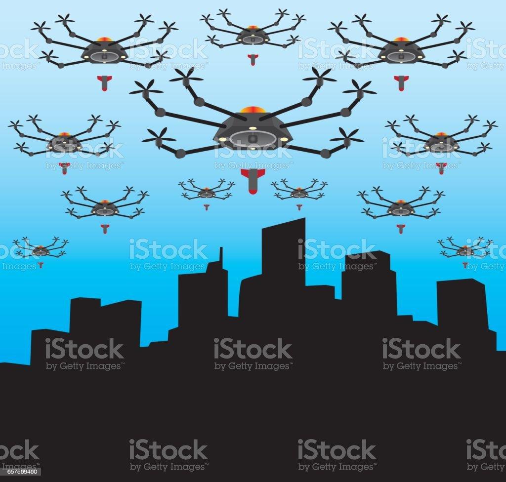 Massive Drone Attack vector art illustration