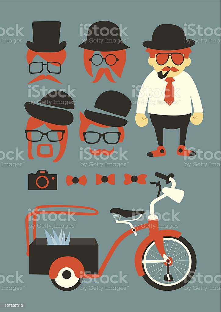mastache background,elements and icons royalty-free stock vector art